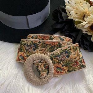 80s Floral Tapestry Sash Belt